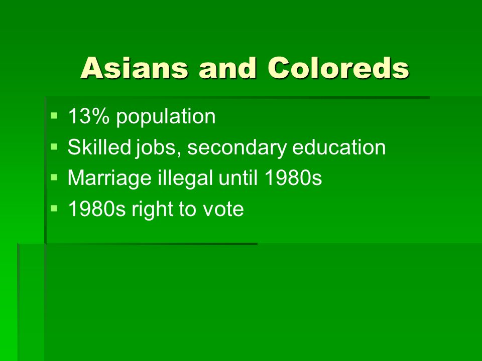 Asians and Coloreds 13% population Skilled jobs, secondary education