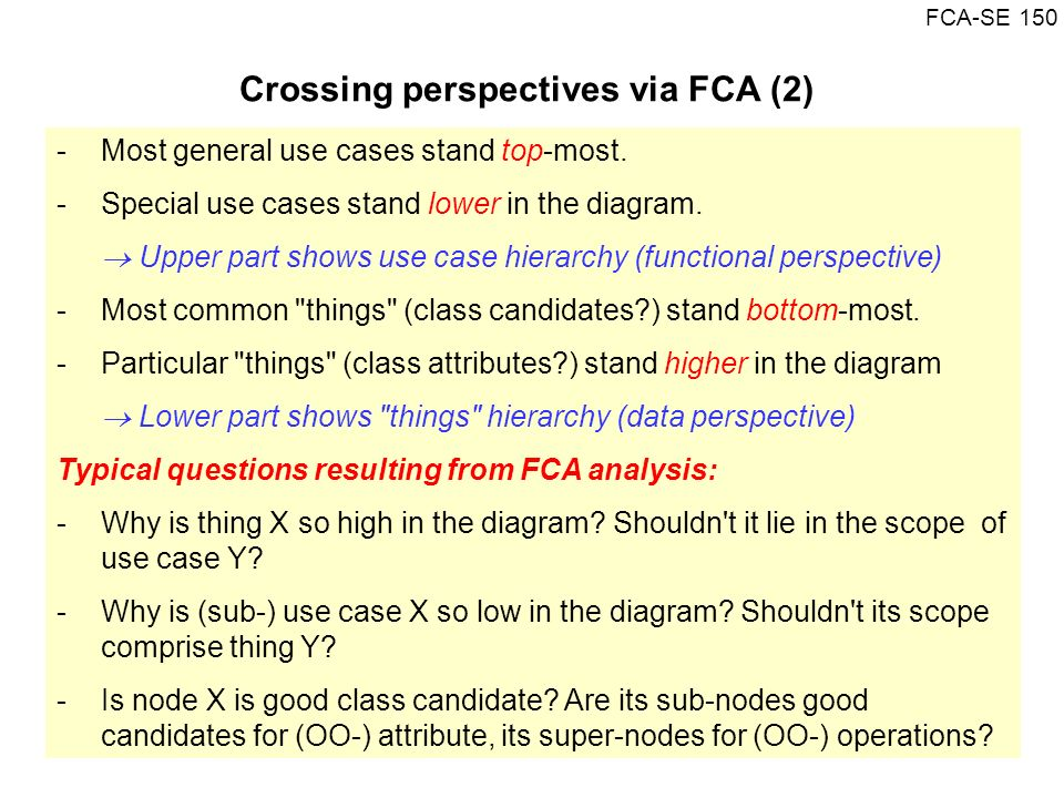 Crossing perspectives via FCA (2)
