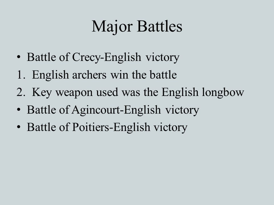 Major Battles Battle of Crecy-English victory