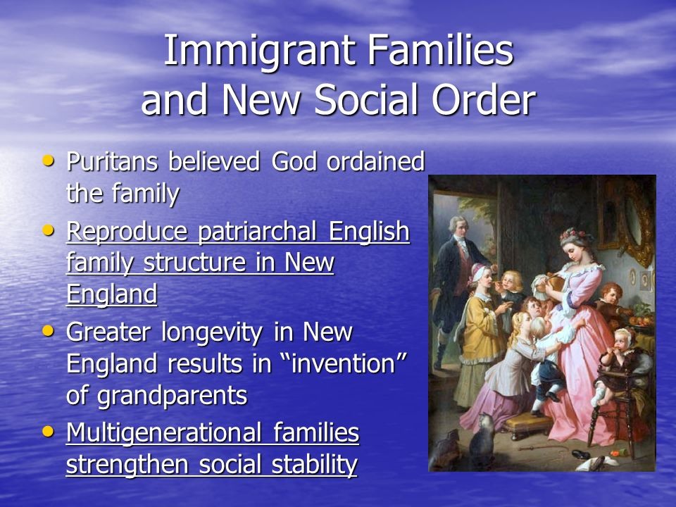 """family structure in the new england """"unlike the new england puritans, whose religious philosophy called for retention of a traditional patriarchal family structure but with a reinterpretation of the character of marriage and divorce, settlers in maryland demonstrated no desire to reform either the laws or the attitudes about marriage then prevalent in england    they."""