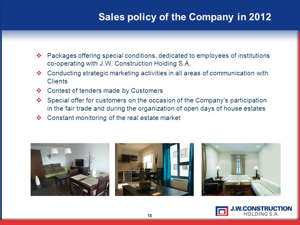 Sales policy of the Company in 2012