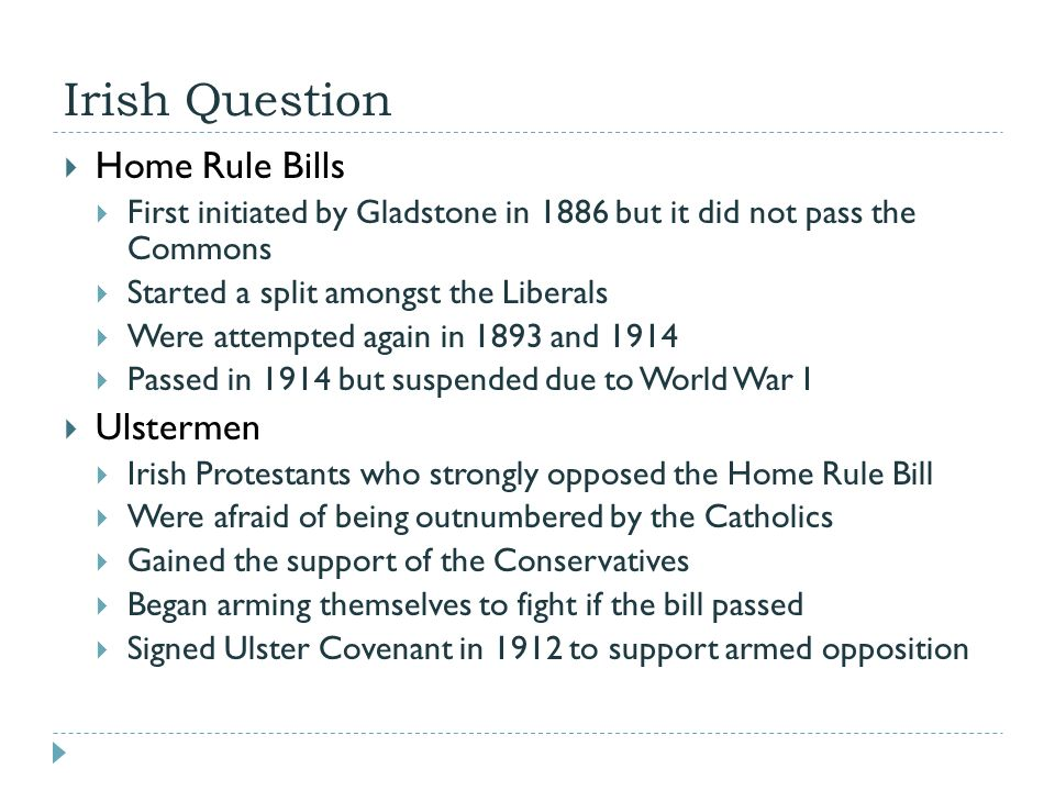 Irish Affairs the Home Rule Question