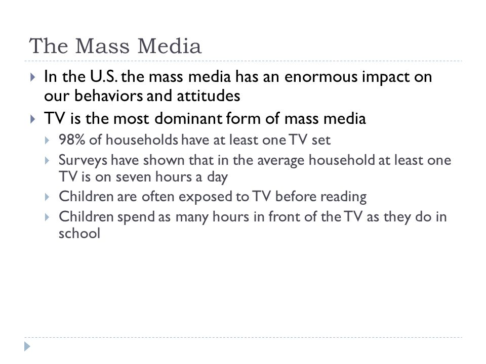television influence on childrens attitudes ideas and behaviours The influence of attitudes on behavior  for example, at a very young age fe w, if any, children intend to use illicit drugs (hornik et al, 2001), and a measure of their intentions can .