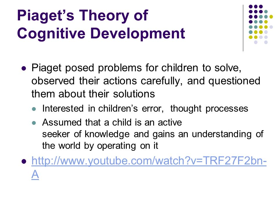 piagets theory on knowledge 26 applying piaget's theory applying piaget's theory of cognitive development to knowledge of stages of development for mathematics.