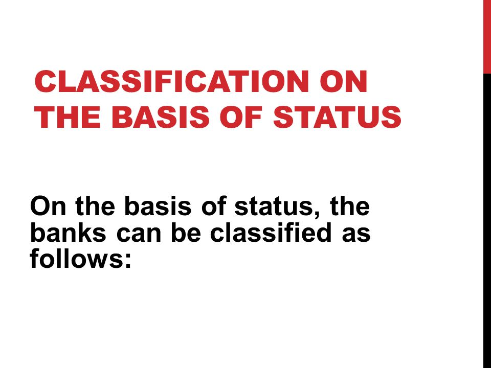 Classification On The Basis Of Status