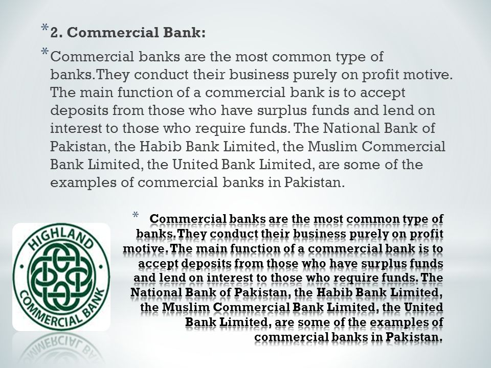 2. Commercial Bank: