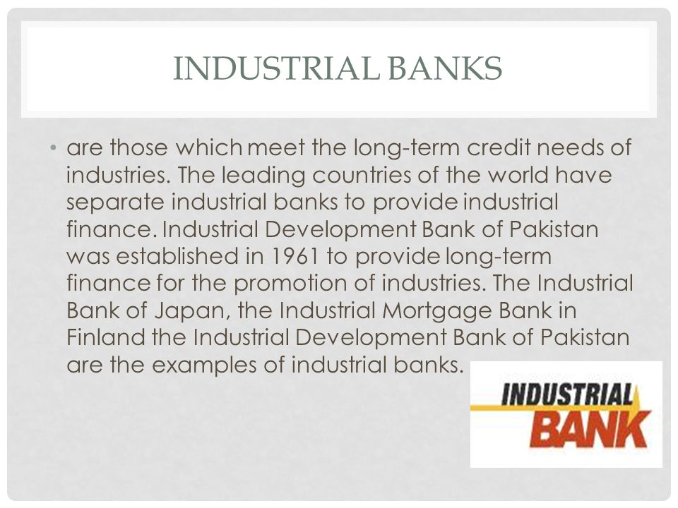 Industrial banks