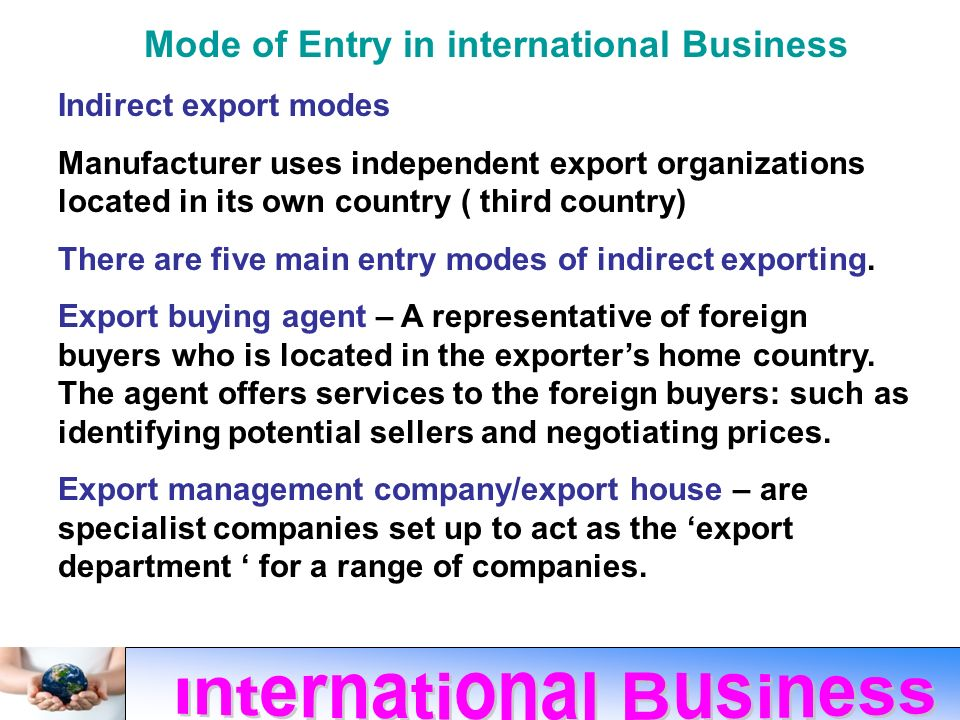 modes of entry in international business Foreign market entry modes the international business and marketing literature classify entry modes for international business operations into the following.