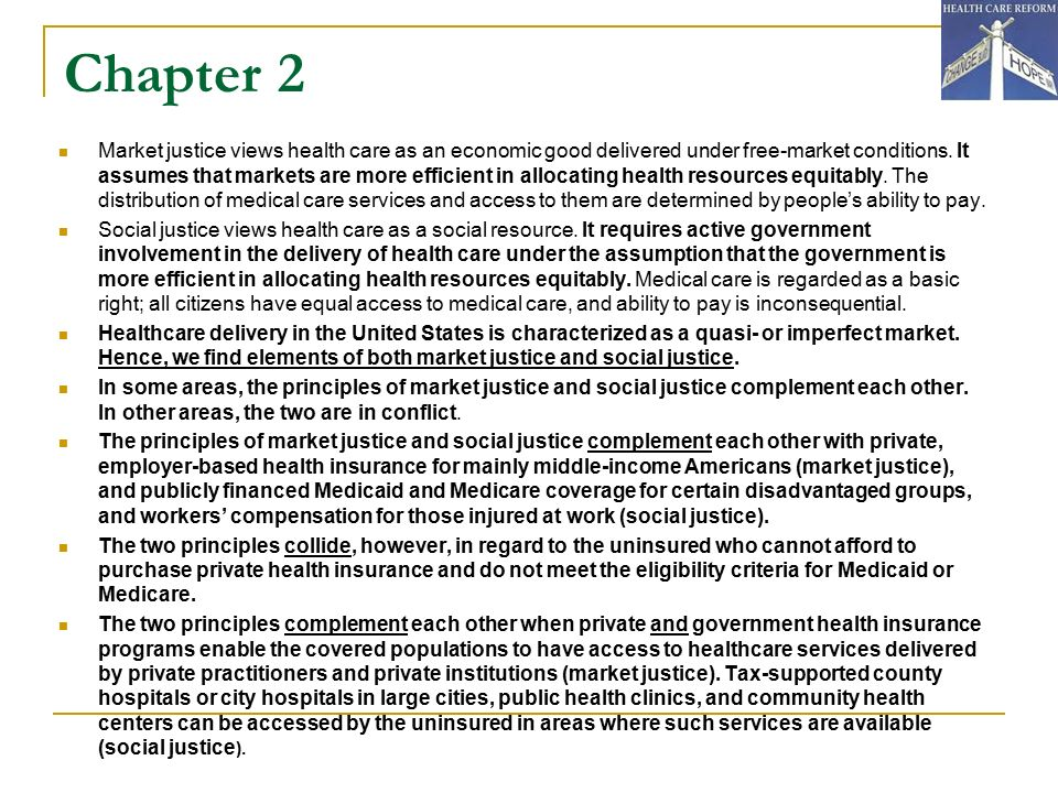 an introduction to the justice in the health care system in the united states The state of aging and health in america 2013 focuses on the health of adults aged 65 years or older in the united states  and treatment for this population accounts for 66% of the country's health care budget  these indicators present a comprehensive picture of older adult health in the united states.