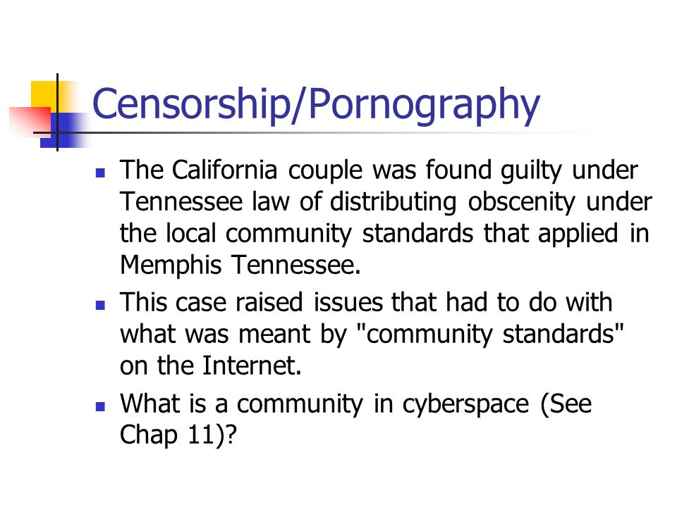 pornography and censorship in the age of the internet As these federal cases suggest, recent outcomes have favored those who regard federal control of internet pornography as censorship that does not mean the issues are settled, as indeed partisans on both sides of the issue eagerly anticipate forthcoming proposed legislation and judicial review thereof.
