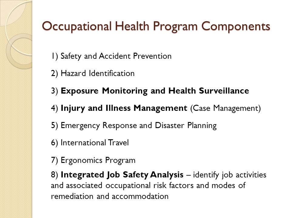 Occupational Health Programs Ppt Video Online Download