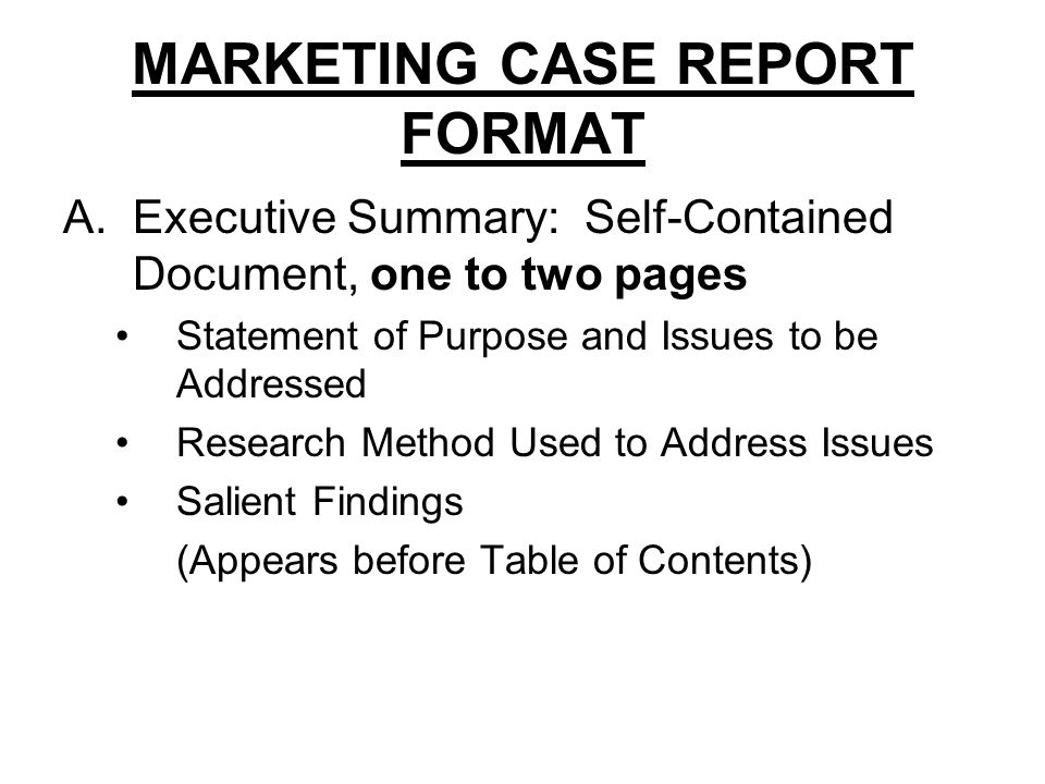marketing case report Marketing case analysis  your report should address marketing problems and their solution the major exceptions to this request will occur in the mba program where there are two paired courses which have a shared component in those instances, you will be a member of a team which contains members of both classes and both types of problems.