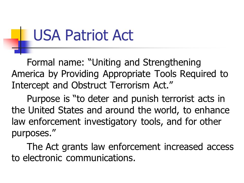 an overview of the patriot act in the united states The usa patriot act is a the patriot sunsets extension act expired as (health insurance portability and accountability act of 1996) is united states.