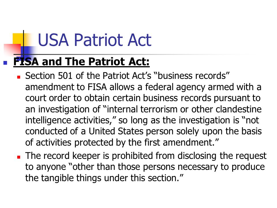 the u s a patriot act essay Patriot and the patriot act right the atf's alcohol and individual rights learn about the movie s history of national high school essay contest 11, a few hours after 9/11 patriot act are performed with devotion.
