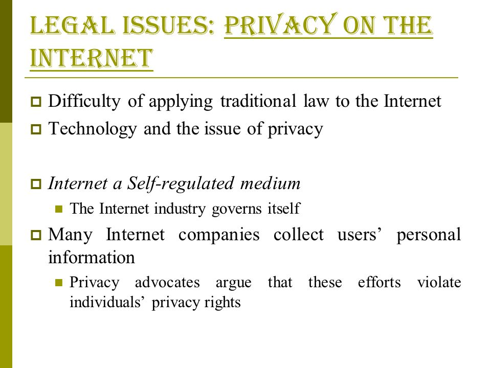 the issue of personal privacy on the internet This article addresses all issues pertaining online privacy issues  data & personal information  the grave implications of internet users' loss of privacy.