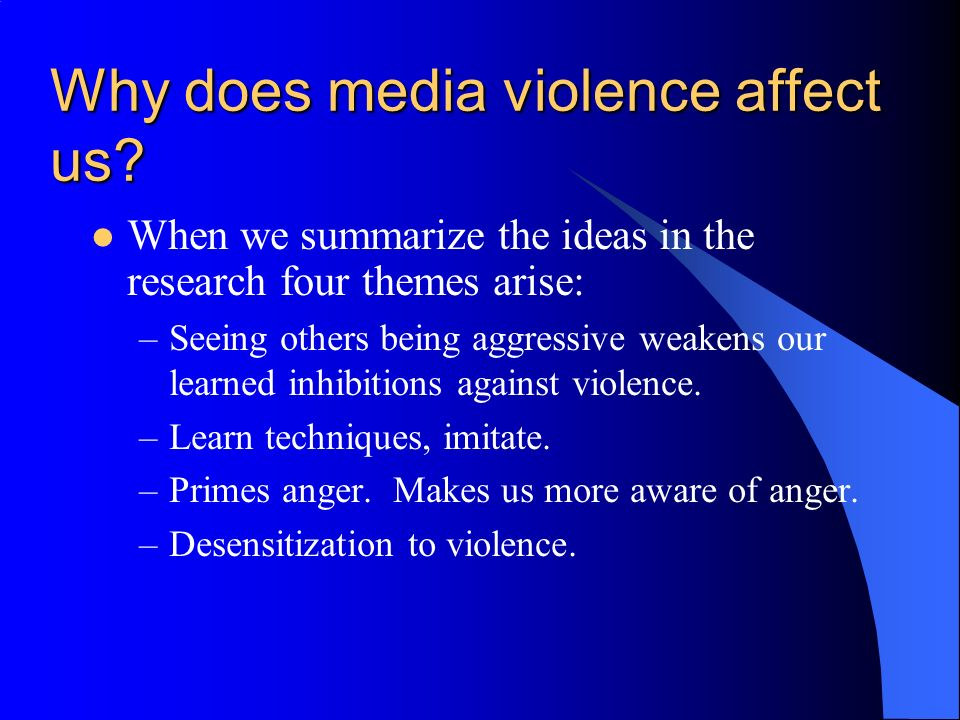 does the media influence us essay Influence of mass media in media studies, media psychology, communication theory and sociology the payne fund studies, conducted in the united states during this period, focused on the effect of media upon young people many other separate studies focused on persuasion effects studies, or the possibilities and usage of planned.