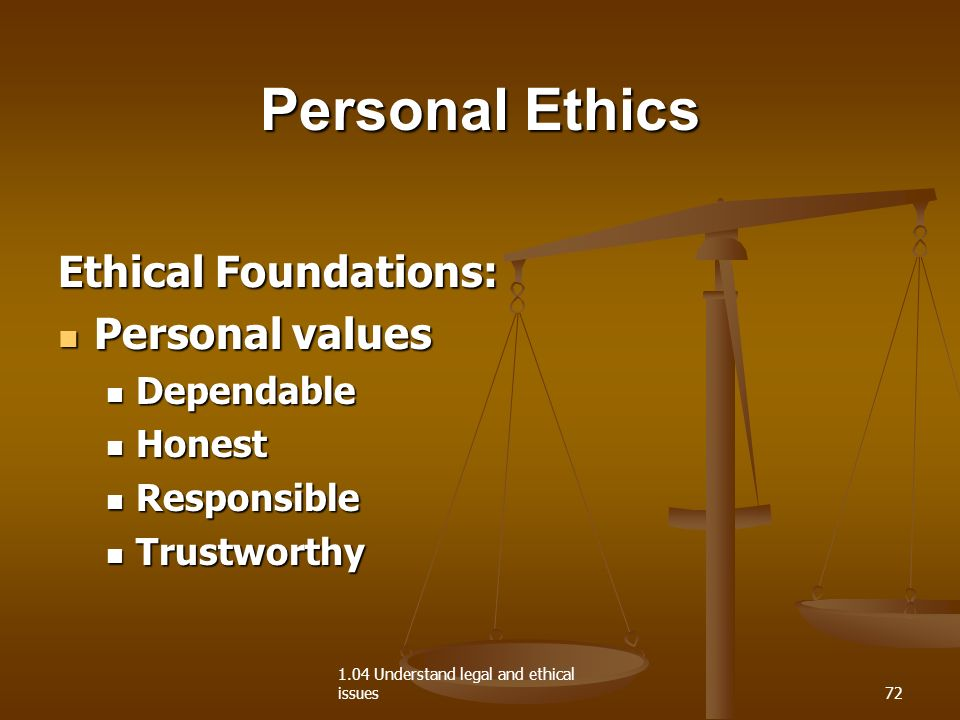 personal values and ethical foundations Free essay: personal values and ethical foundations how does one's personal, organizational and cultural values affect decision-making in one's personal and.