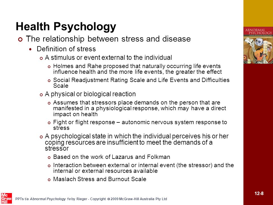 explain the relationship between stressful events and illness