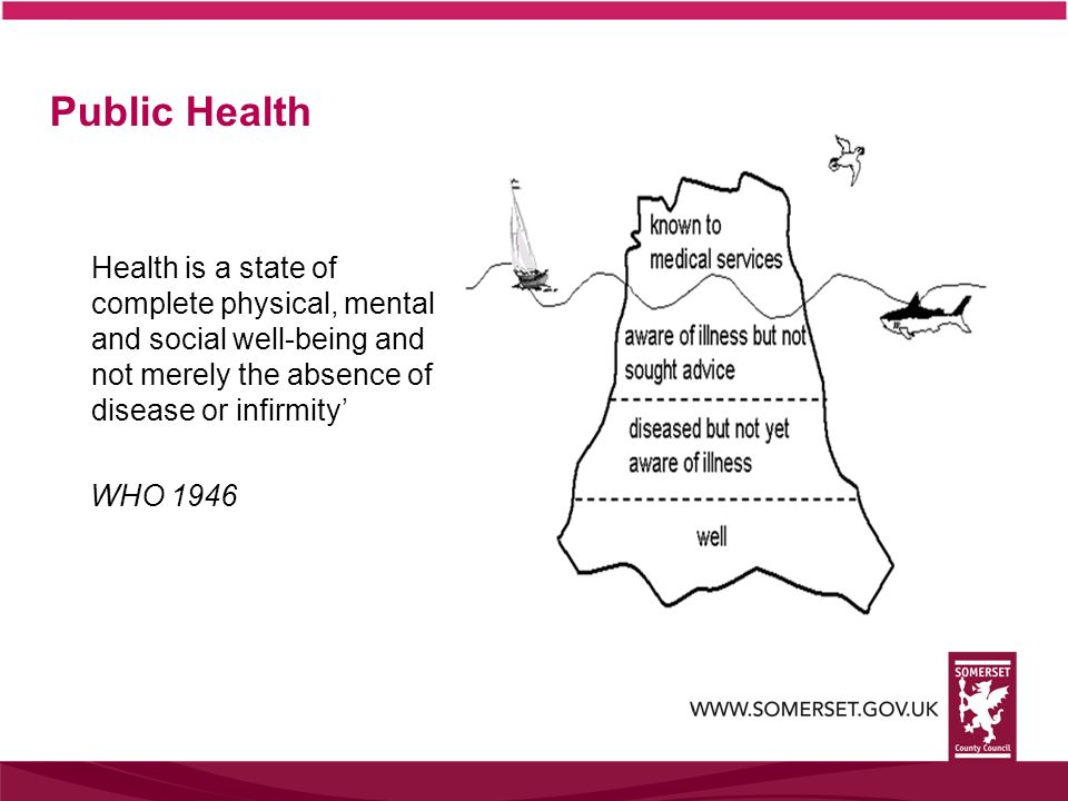 Public Health Health is a state of complete physical, mental and social well-being and not merely the absence of disease or infirmity'