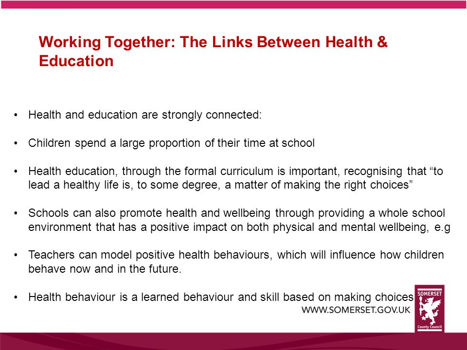 Working Together: The Links Between Health & Education