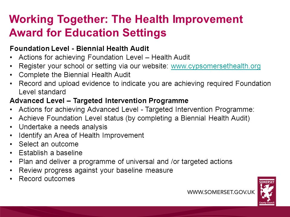 Working Together: The Health Improvement Award for Education Settings