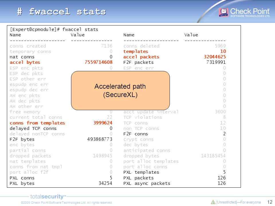 # fwaccel stats Accelerated path (SecureXL)