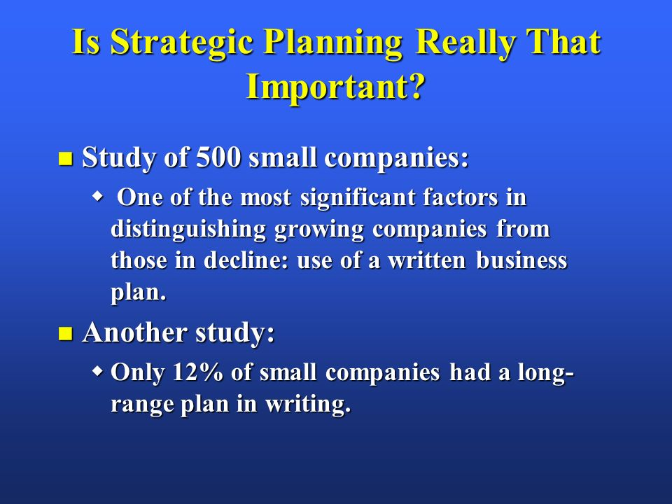 importance of strategic planning essay Strategic planning is an important tool for bringing your team together and motivating them to work in tandem if your managers and staff know the company's short- and long-term goals, it's easier .