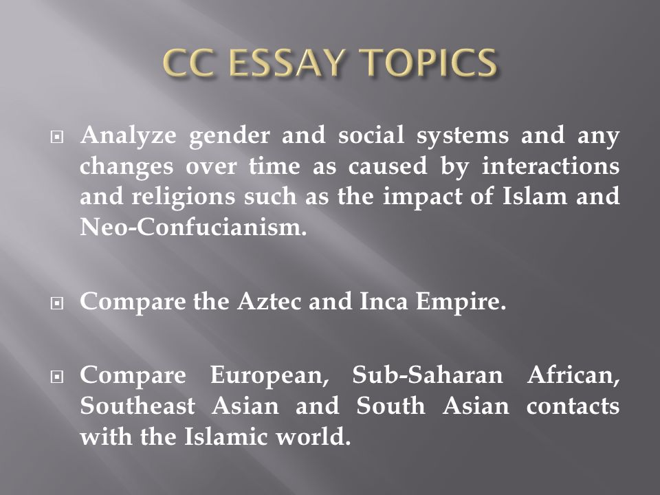what are the cultural economic and political impact of islam in south asia continuities and changes • • • • • • • latin america east asia eastern europe north america south/south east asia sub-saharan africa middle east 2003 ccot • describe and analyze the cultural, economic, and political impact of islam on one of the following regions between 1000 ce and 1750 ce.
