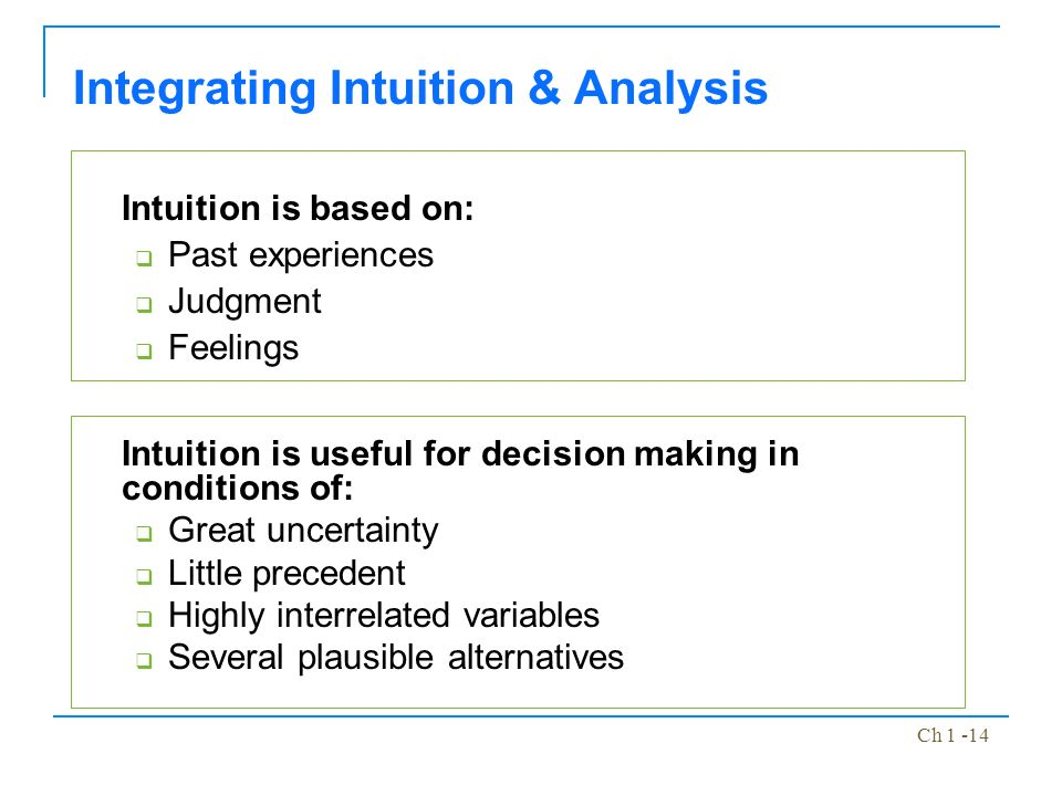 integrating intuition and analysis The three strategic decision making dimensions intuition, rationality and political behaviour the research was extensive analysis of the data, the research supports that intuition has a prominent role according to each specific case we would, then, integrate more specific questions in the interview.