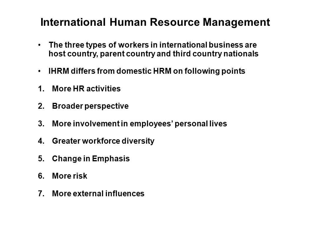 international human resource management of japanese Understandably, the company must keep international knowledge and experience as criteria in the recruitment and selection process12 besides, the international hr department must have a fairly good idea about the skills and availability of human resources in different labour markets in the world.
