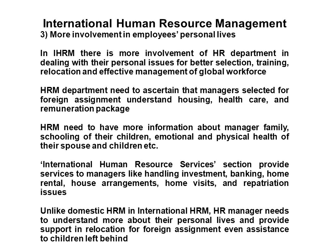 international human resource management of japanese Interestingly, the study revealed that, in japanese companies, hcns are rarely considered global human resources, which, it is suggested, further limits their integration in the firm the study also examines the consequences of a lack of hcn integration, which includes the difficulty experienced in recruiting and retaining highly qualified hcns.