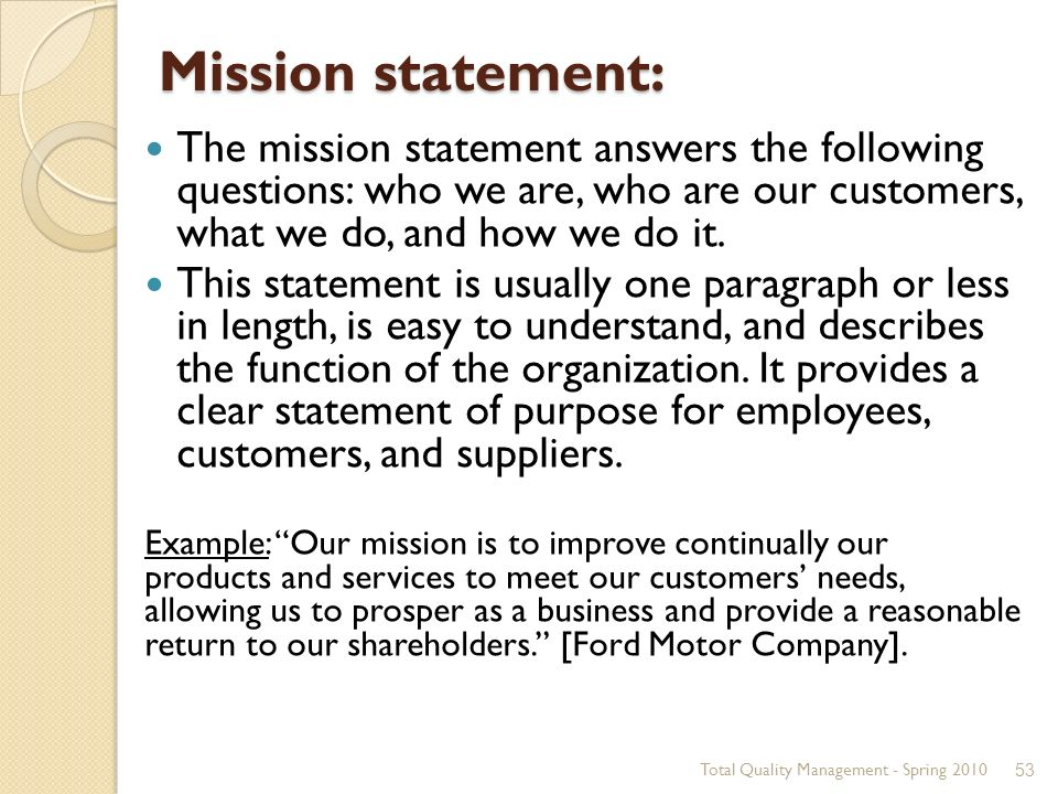 Total quality management ppt download for Ford motor company mission statement