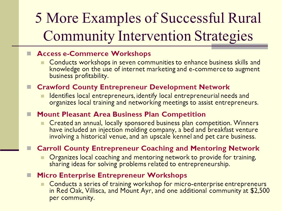 Rural area business plan
