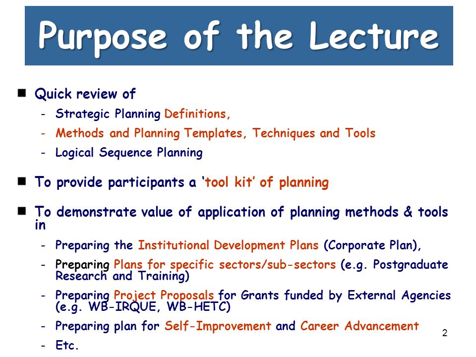 Lec. 6. Strategic Planning for Universities - ppt download