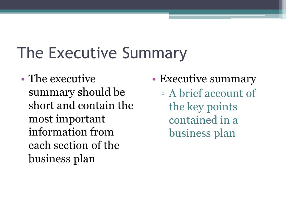 the executive summary section of the business plan contains synonym