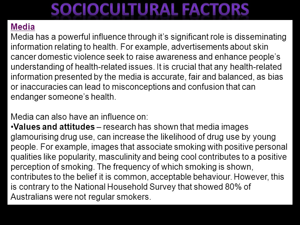 sociocultural influences on a persons attitude Age, sex and constitutional factors, [9] 2 literature review the socio- cultural  attitudes engaged in by a group of people not only influence their state of health, .