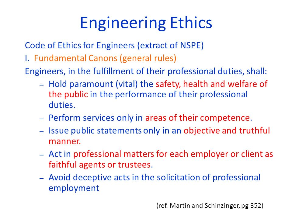 code of ethics engineering The code of professional conduct civil engineers shall: contribute to society utilize their expertise and experience to develop and implement comprehensive solutions to issues of public interest, keeping in mind the peace and prosperity of the people and the development of society as their constant concern.