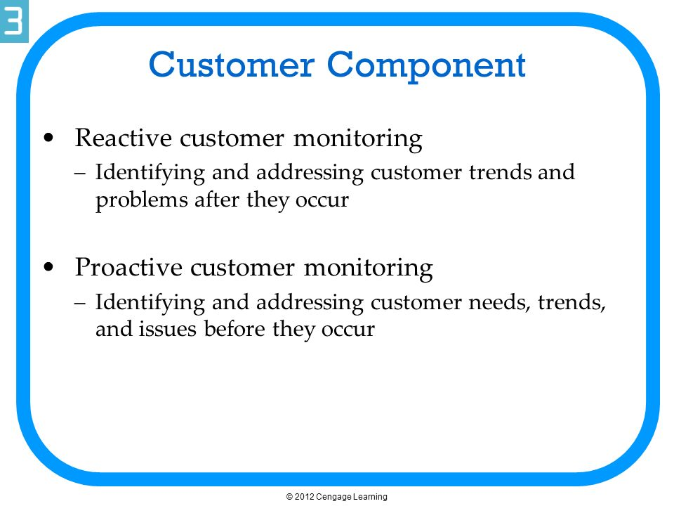 Customer Component Reactive customer monitoring