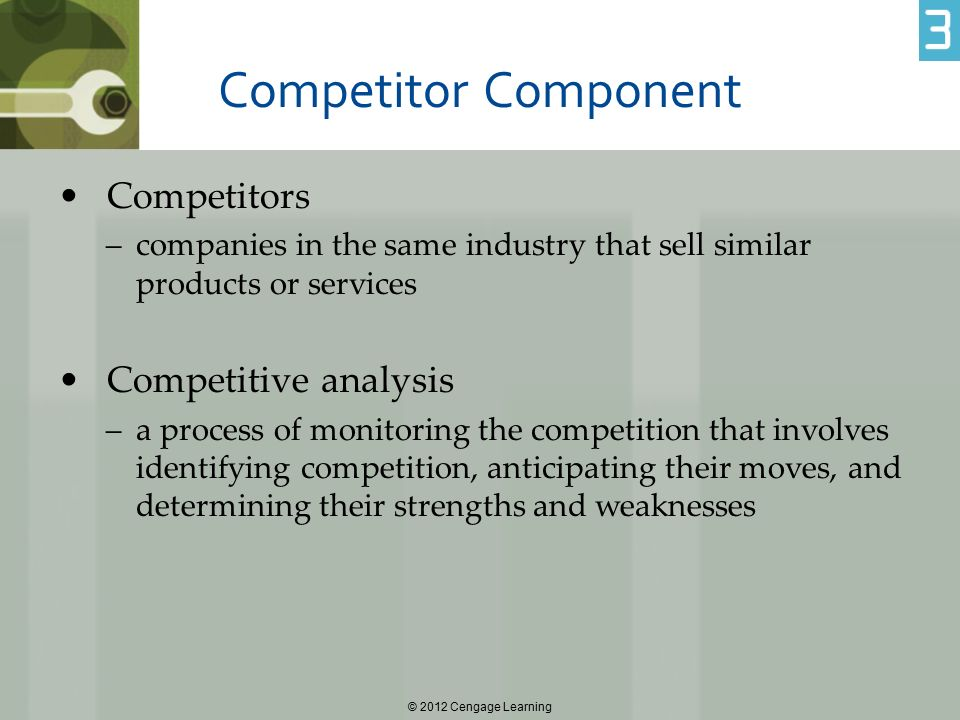 Competitor Component Competitors Competitive analysis