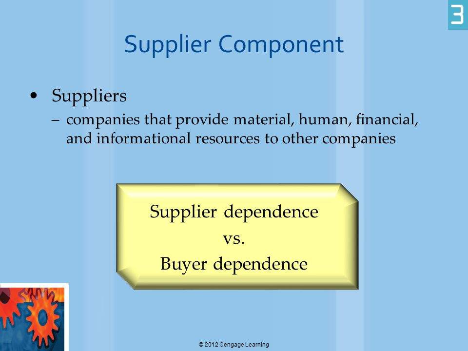 Supplier Component Suppliers Supplier dependence vs. Buyer dependence