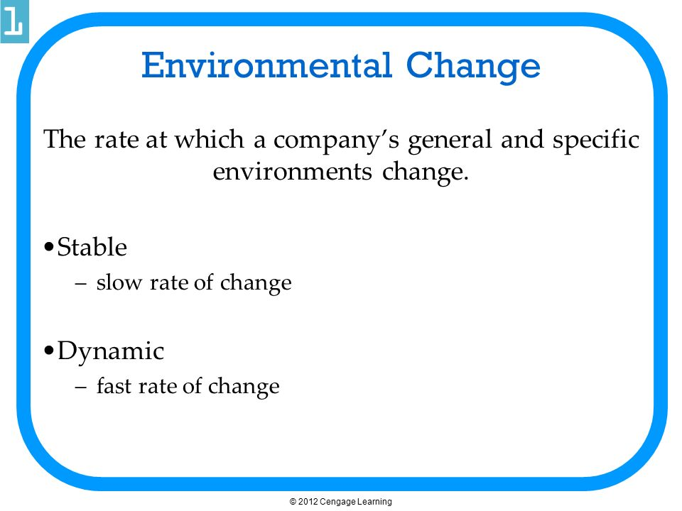 Environmental Change The rate at which a company's general and specific environments change. Stable.