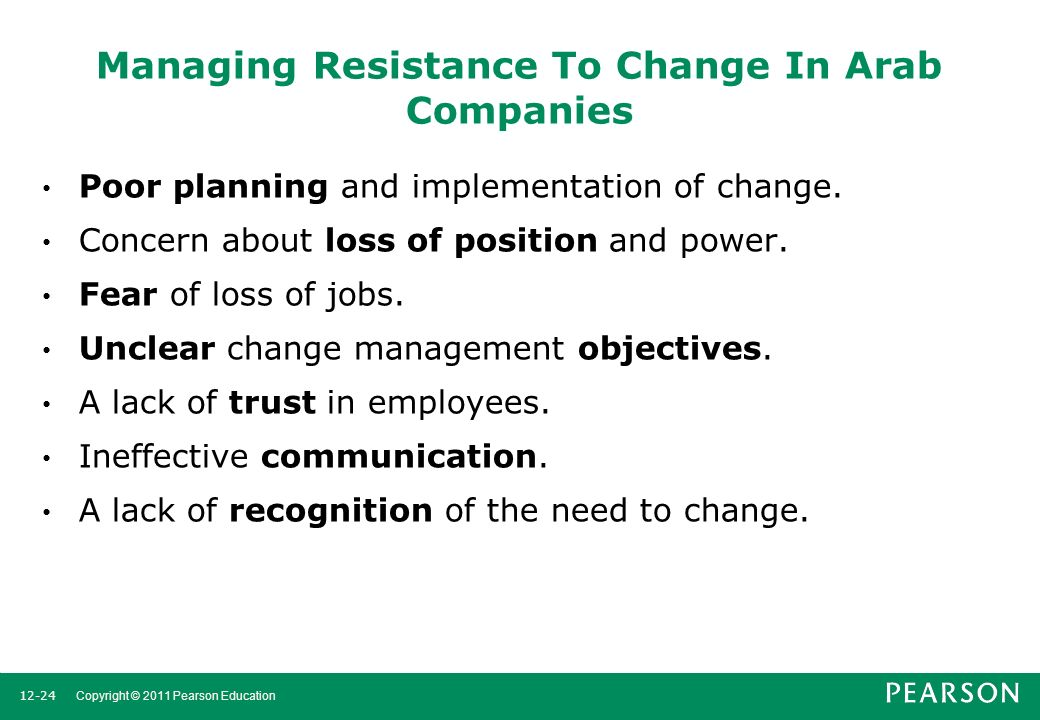 """dealing with and managing resistance to Dealing with resistance to change the 5 keys dealing with resistance to change involves looking deeply at the sources and causes of resistance to a very large extent, resistance to change is the default setting for adult behaviour, and frequently the level of resistance increases in direct proportion to life and work experience – and for very good reasons – """"we've seen it all before."""
