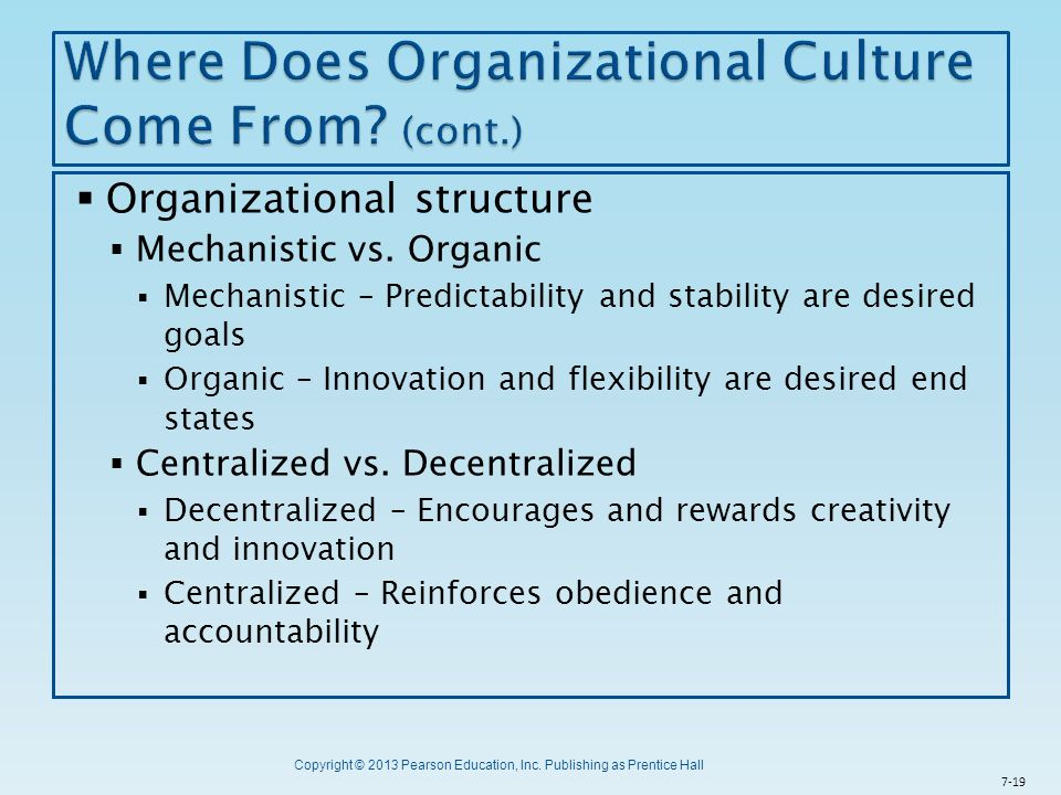 where does organizational culture come from Organizational culture is composed of seven characteristics that range in priority from high to low every organization has a distinct value for each of these characteristics, which, when combined .