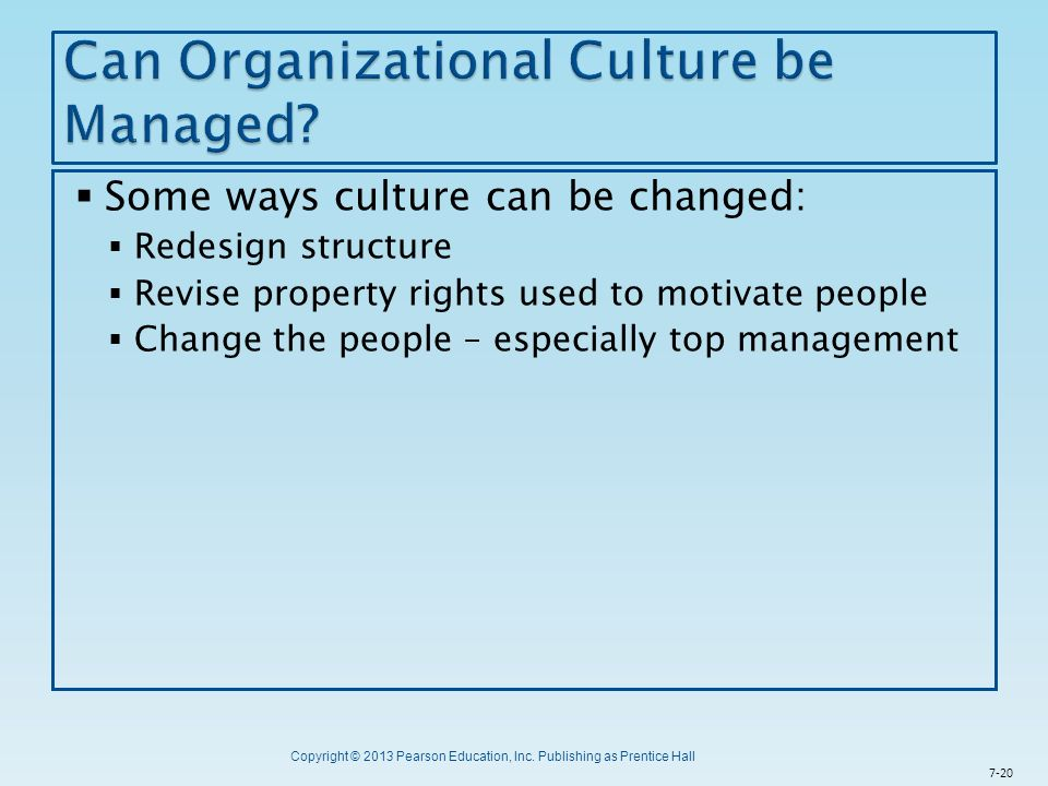 Can Organizational Culture be Managed