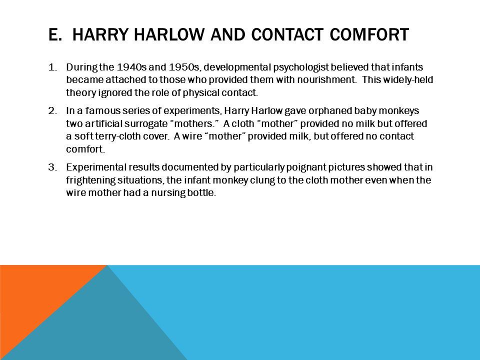 Psychology: Harlow's experiments on attachment in monkeys ...