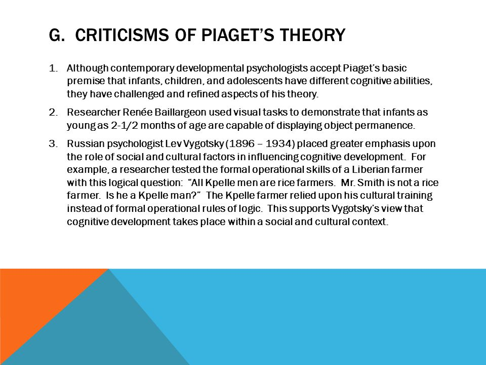 research report piagets theory Piaget's developmental theory has had three major implications for educating children firstly, in terms of readiness, children have to be taught according to in terms of observe his infants piaget has not observed a great variety of children, instead of piaget examines 30 or 40 children in his research to.