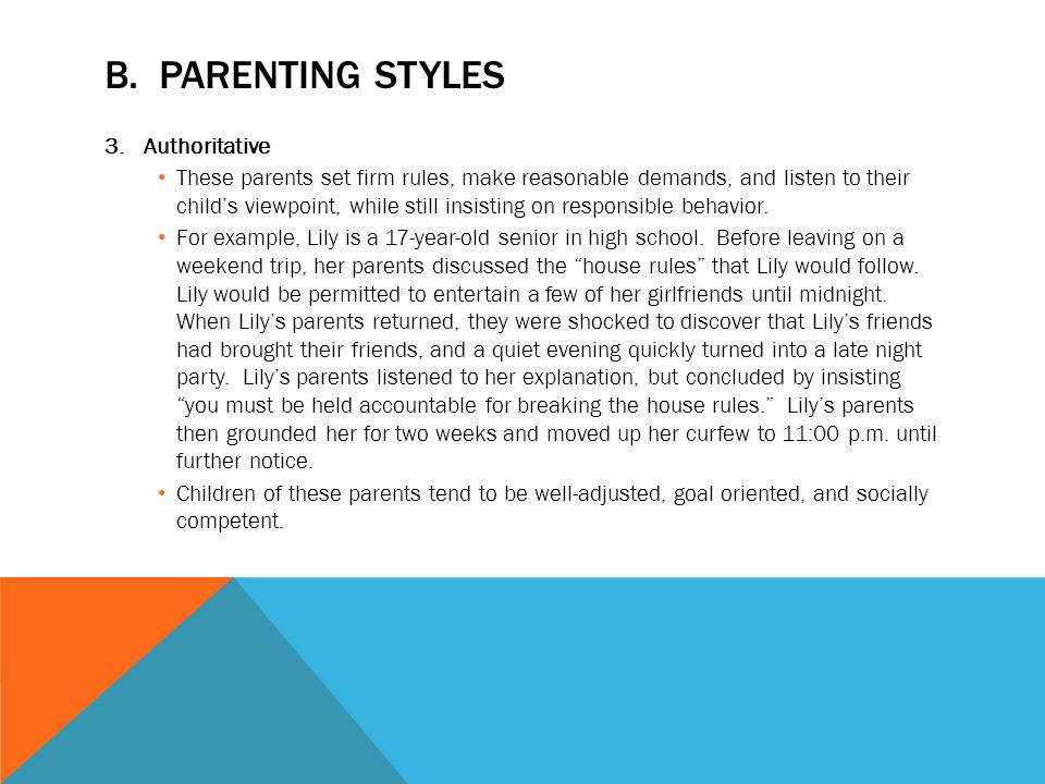 parenting discipline styles essay example The gaokao (college entrance exam), for example, has even been known to   there are decided benefits to a rigorous parenting style  ms chua thinks she  gets her rewards when her child's essay is recognized at school.