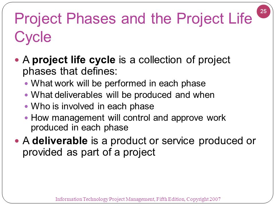 project management life cycle information technology essay A more detailed description of the mpmm project management methodology and life cycle follows: project initiation you initiate a project by defining its purpose and scope, the justification for initiating it and the solution to be implemented.