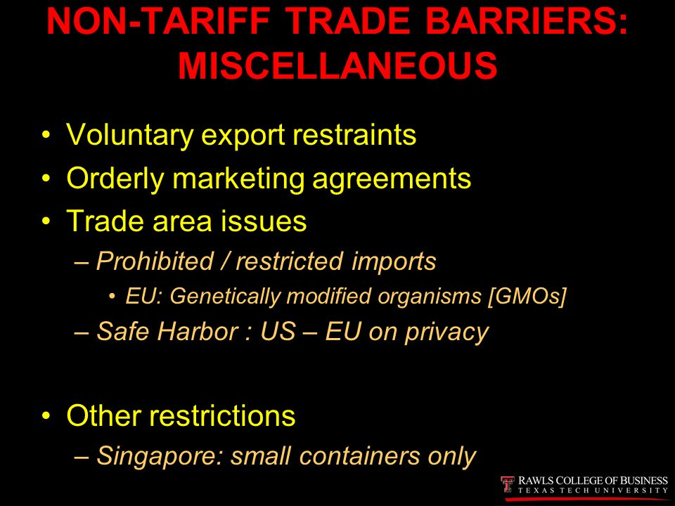 Certified global business professional online course section 6a 53 non tariff trade barriers miscellaneous voluntary export restraints orderly marketing agreements platinumwayz