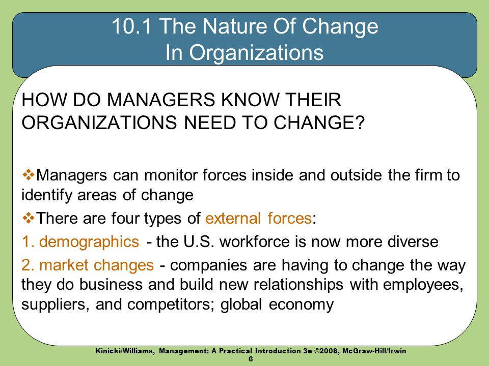 why organisations need to change Organizational change management (ocm) is about winning the hearts and minds of each individual affected by change within an organization in order to reduce their resistance and ensure the changes are implemented and sustained successfully.